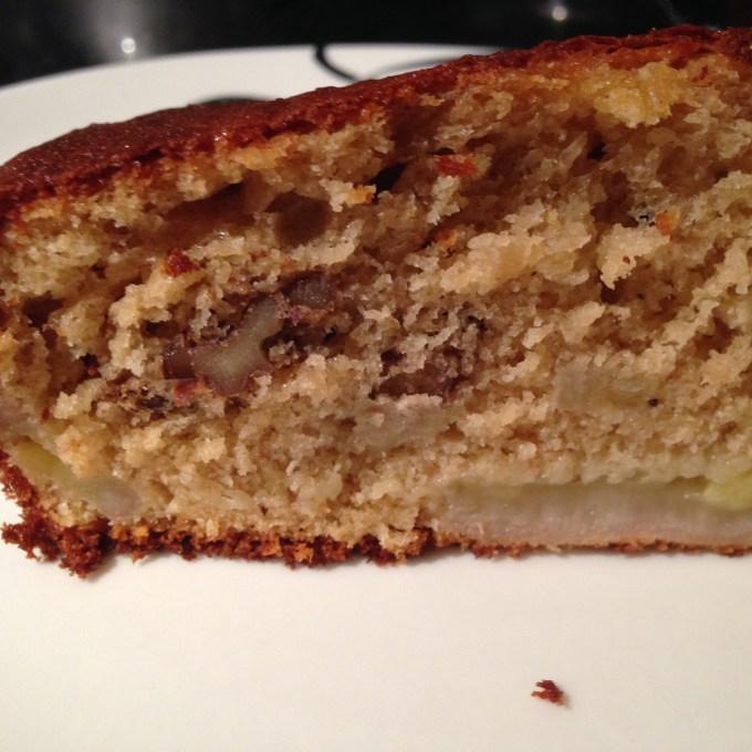 A slice of banana bready cake.