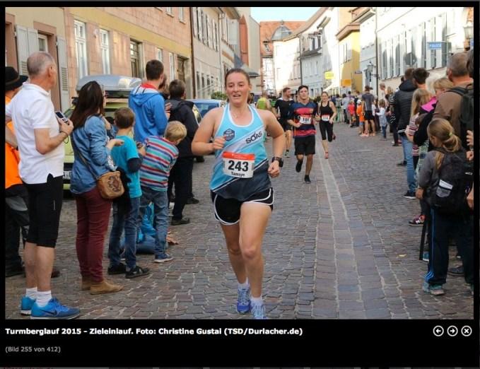 Tamsyn crossing the line at Durlach Turmberglauf