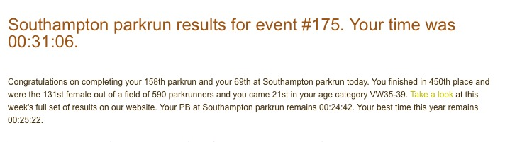 Tamsyn's results from Southampton parkrun #175 on 24th October 2015.