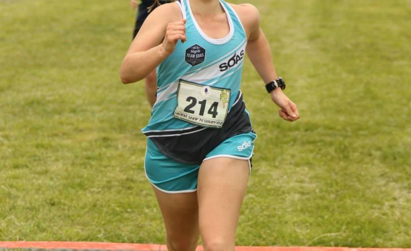 Tamsyn finishing Grand Shaftesbury Run 2015