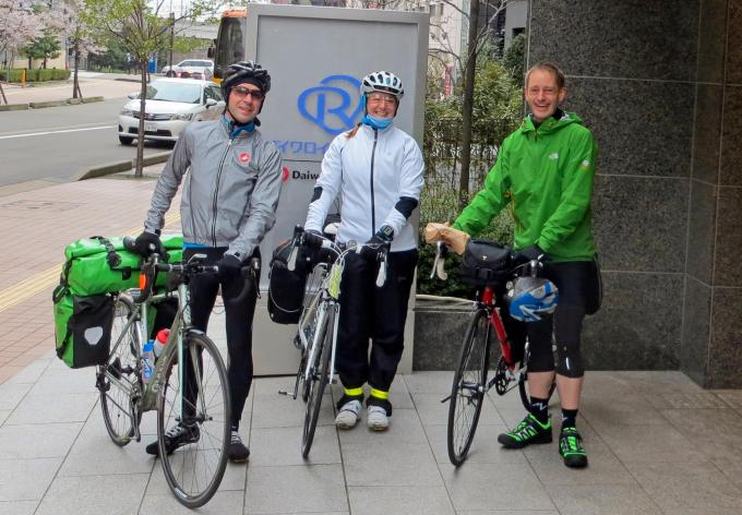 Stuart, Tamsyn and Jez with their bikes in Japan.