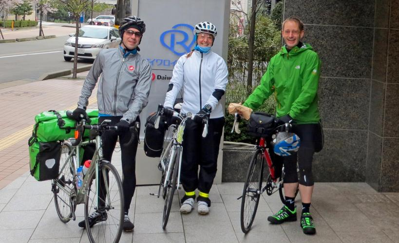 Stuart, Tamsyn and Jez with their bikes in Japan