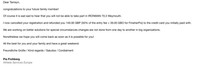 Withdrawing from Ironman Weymouth