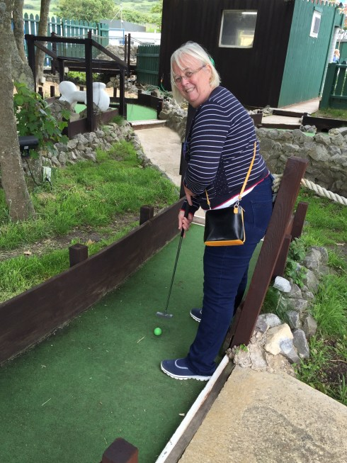 Sandra playing crazy golf