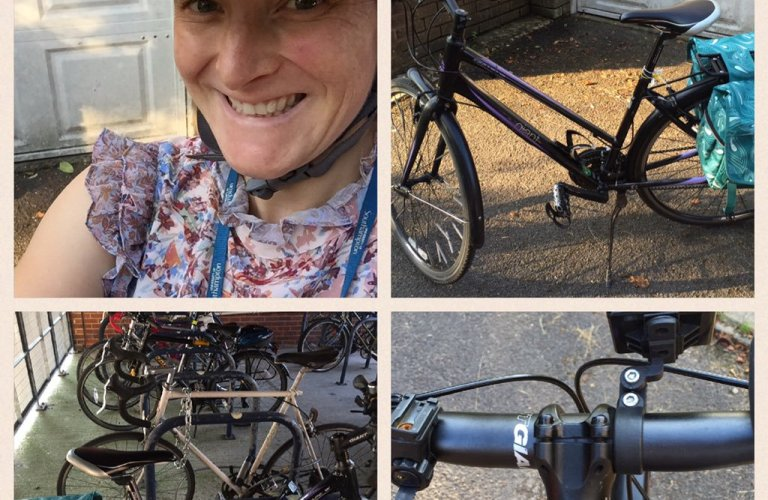 Montage of images of Tamsyn cycling to work
