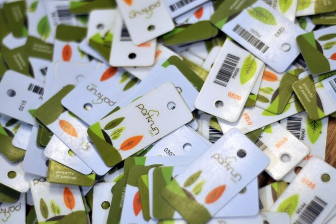parkrun finish tokens in a pile
