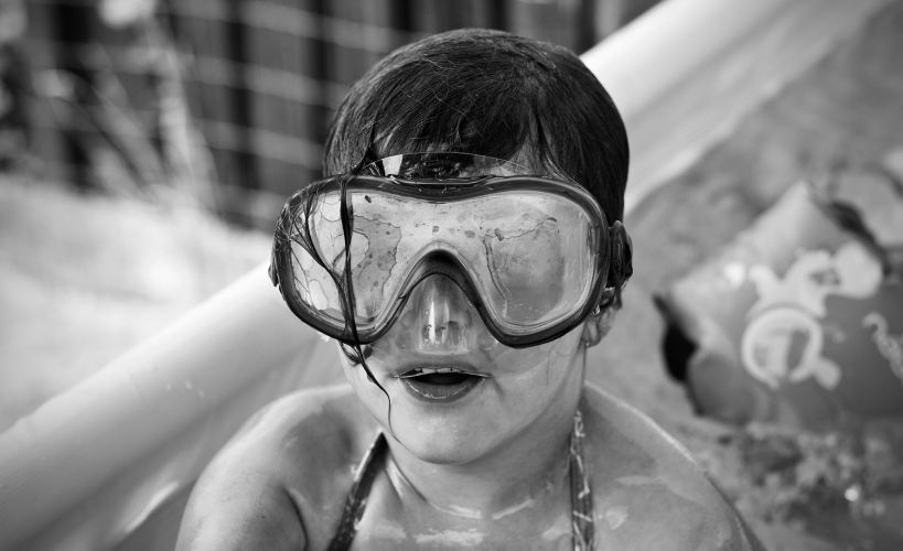 Girl wearing goggles