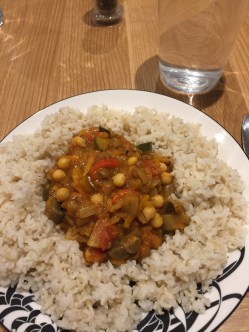 Chickpea curry and rice