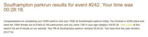 Southampton parkrun 28th January