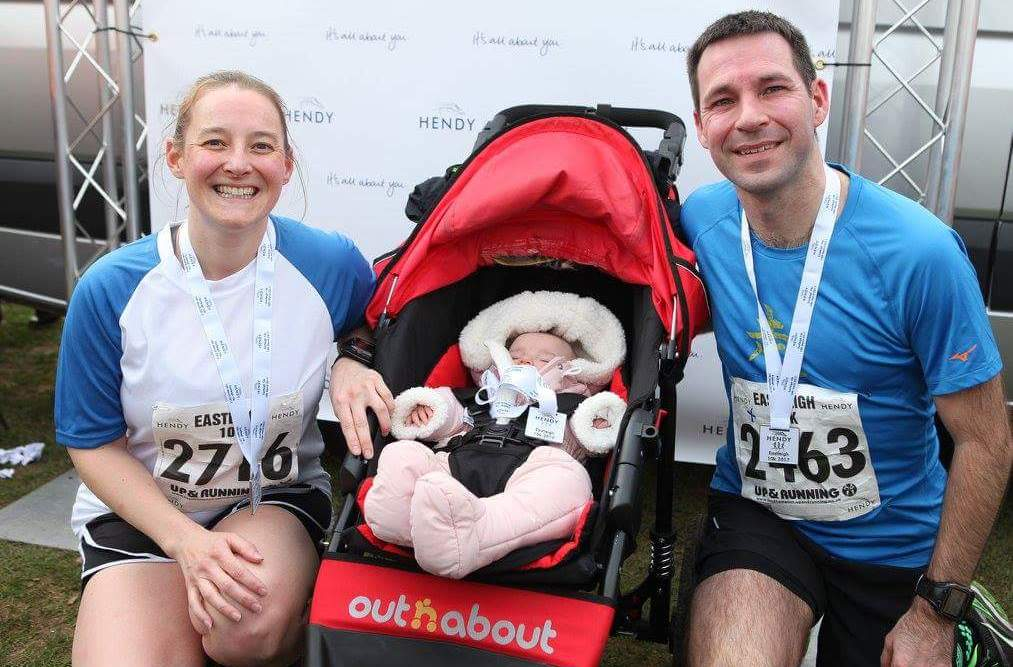 Photo of Stuart, Tamsyn and M with their Eastleigh 10k medals