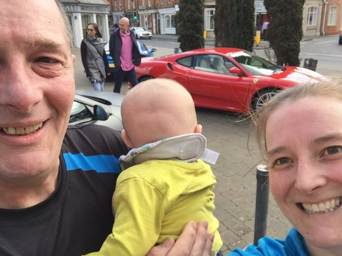 Pete, M and Tamsyn in front of a Ferrari
