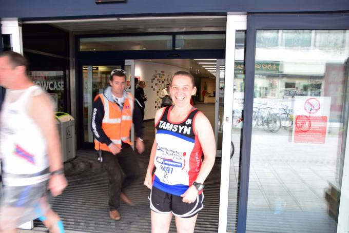 Chris Rees sneaking up on Tamsyn before Southampton Marathon.