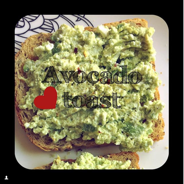 Avocado toast on Instagram
