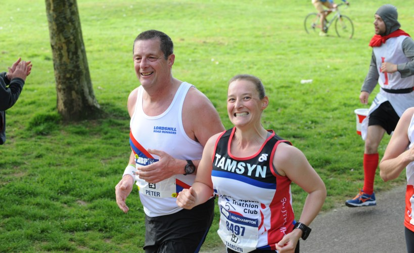 Tamsyn and Pete during Southampton Marathon
