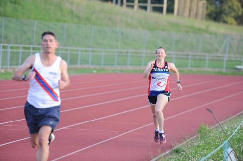 Tamsyn running on the track.