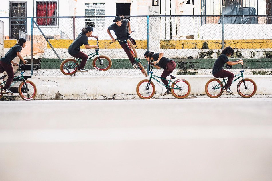 Julián Molina doing a Wallride 180 (trick on a BMX bike)