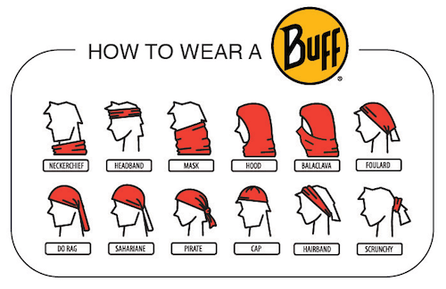 Instructions on how to wear a Buff