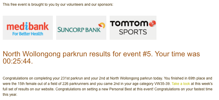 Tamsyn's result from her 2nd parkrun at North Wollongong.