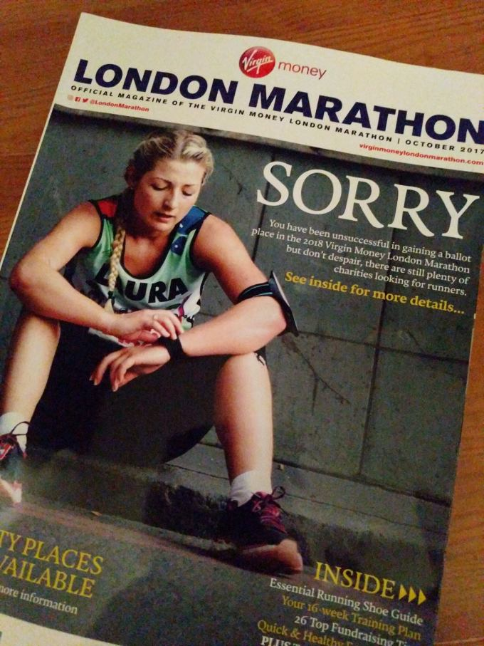 London Marathon rejection magazine 2017