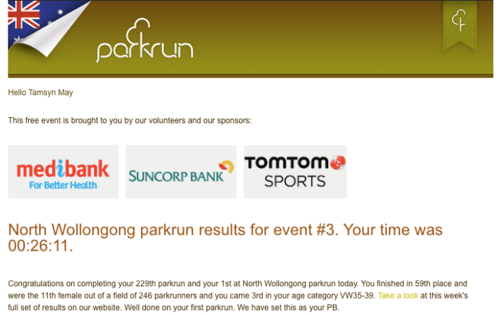 Tamsyn's result from North Wollongong parkrun.