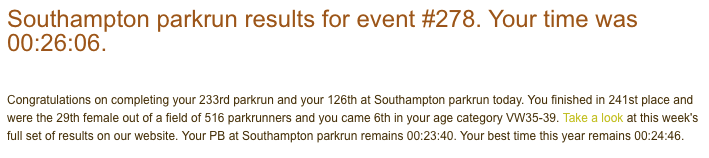 Result from Southampton parkrun #278 on 21st October 2017