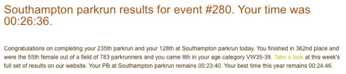 Tamsyn's result from Southampton parkrun on 4th November 2017. 26:36.