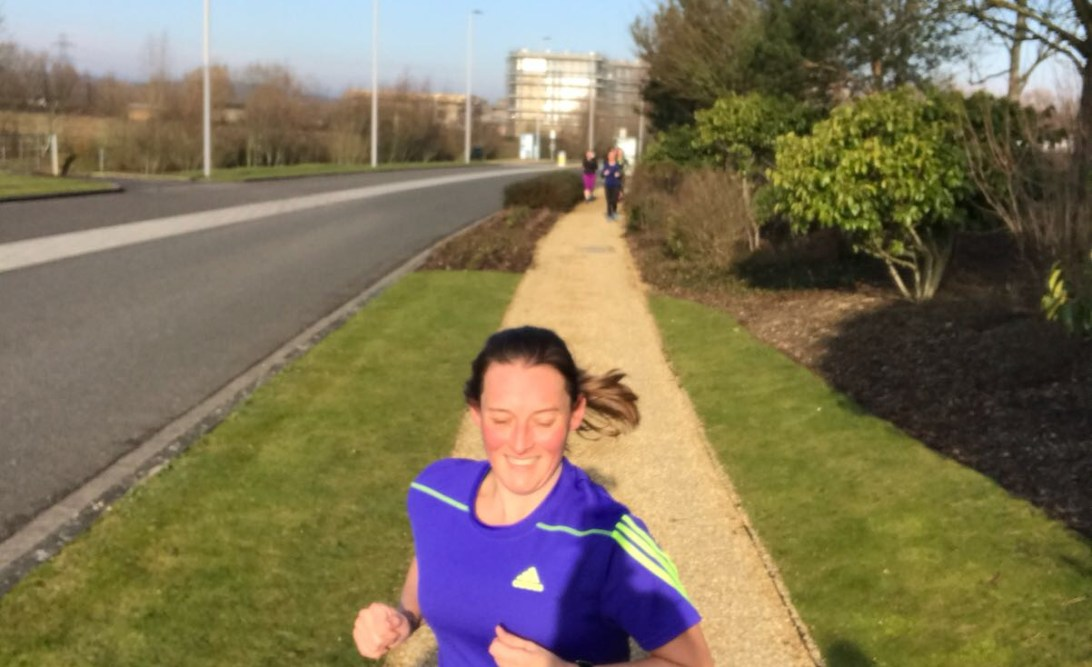 Tamsyn during Reading Half training day run