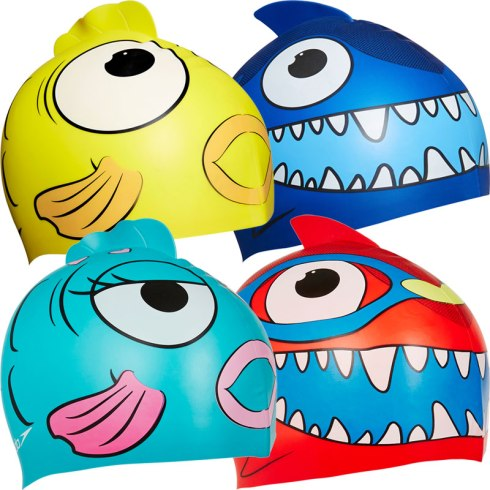 Four children's swimming hats. Each hat looks like a fish.