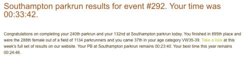 Southampton parkrun Jan 13 2018