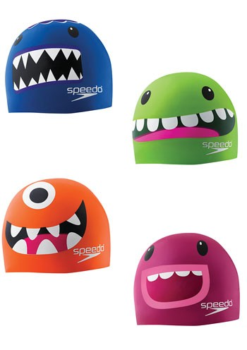 4 children's swimming hats that look like cute monsters.