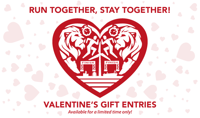Run toegther, stay together! Valentine's gift entries. Text surrounded by hearts.