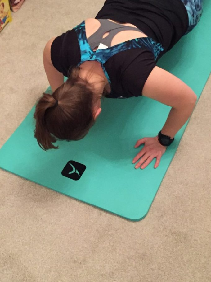 Tamsyn doing a press up.