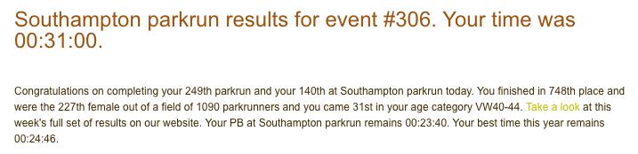 Southampton parkrun 306