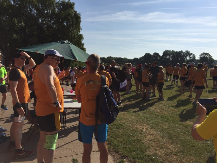 Plenty of apricot t-shirts at Leamington parkrun