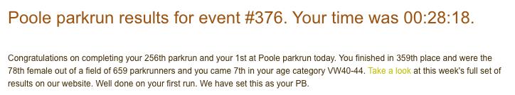 Poole parkrun 30 June 18