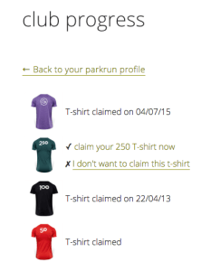 parkrun 250 t-shirt ordered