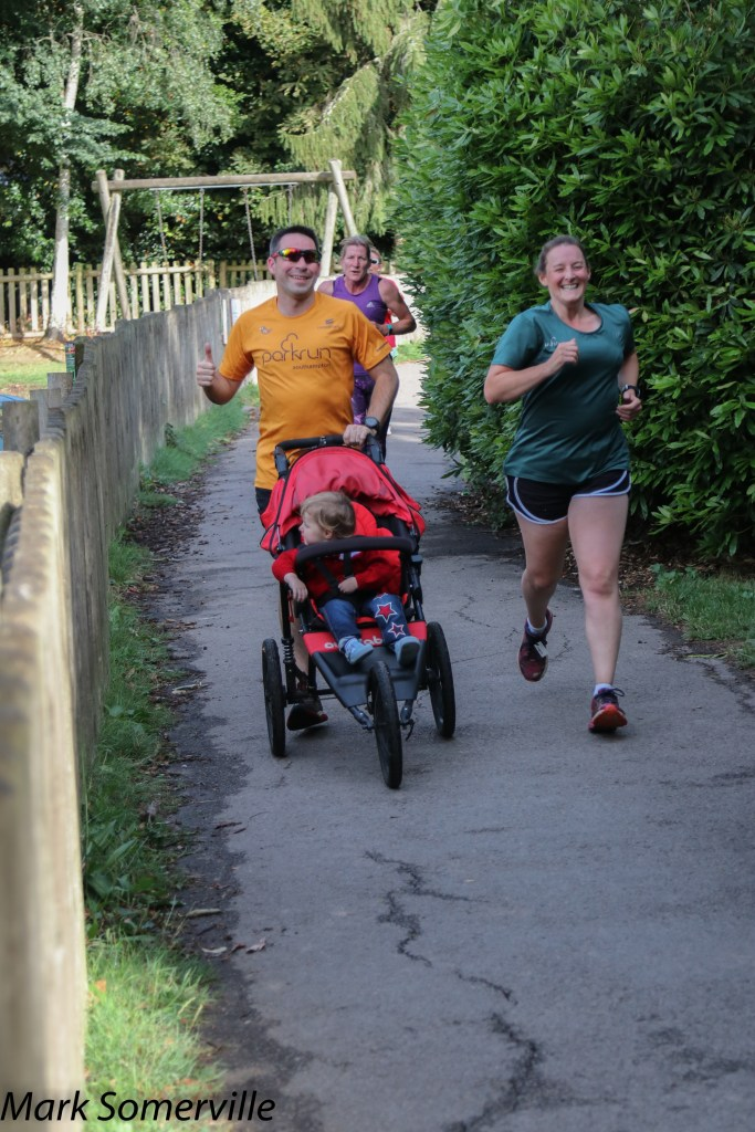 Tamsyn, Stuart and M at Lymington Woodside parkrun