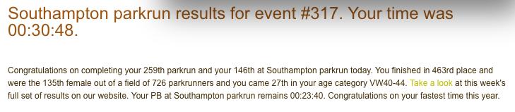 Southampton parkrun 28 July 18