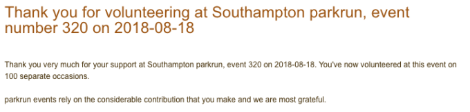 Thank you email for volunteering at Southampton parkrun.