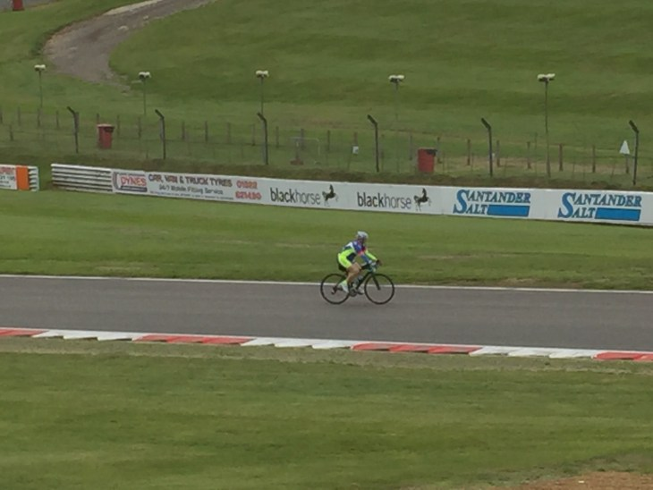 Tamsyn cycling on Cooper Straight at Brands Hatch