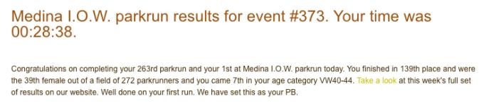 Tamsyn's result from Medina parkrun