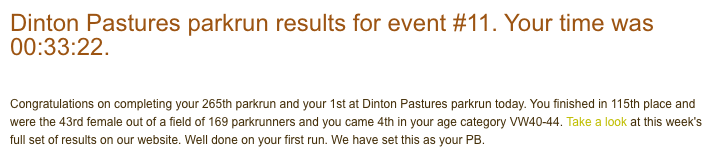 Tamsyn's result from Dinton Pastures parkrun