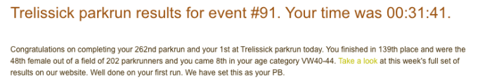 Trelissick parkrun 01 Sept 2018