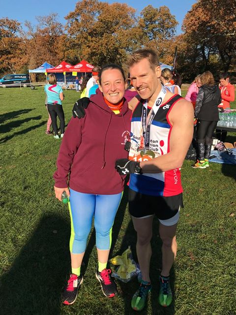 Tamsyn standing with the winner of Southampton MoRun 2018, Jonathan Northcott.