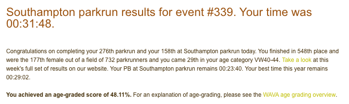 Tamsyn's result from Christmas day parkrun: 31:48.