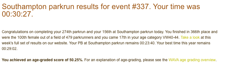 Result from Southampton parkrun on 15th December 2018: 30:27.