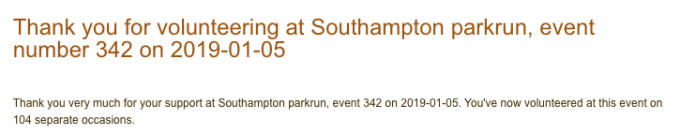 Thank you email from parkrun for volunteering.