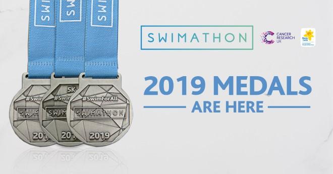 Swimathon 2019 medals.