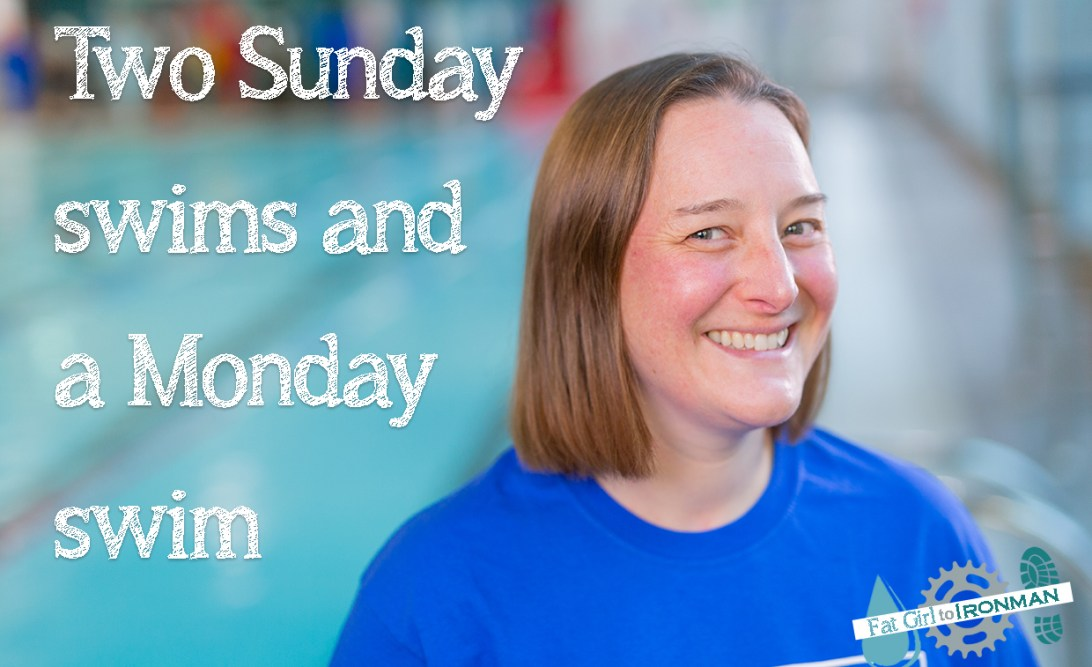 Tamsyn by a swimming pool with the text 'Two Sunday swims and a Monday swim'.