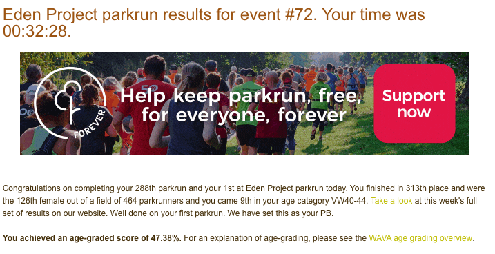 Tamsyn's result from Eden Project parkrun #72: 32:28.